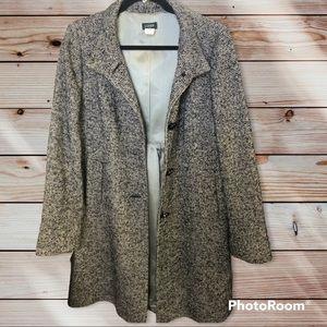 J. Crew Factory Wool Blend Gray Tweed Pea Coat